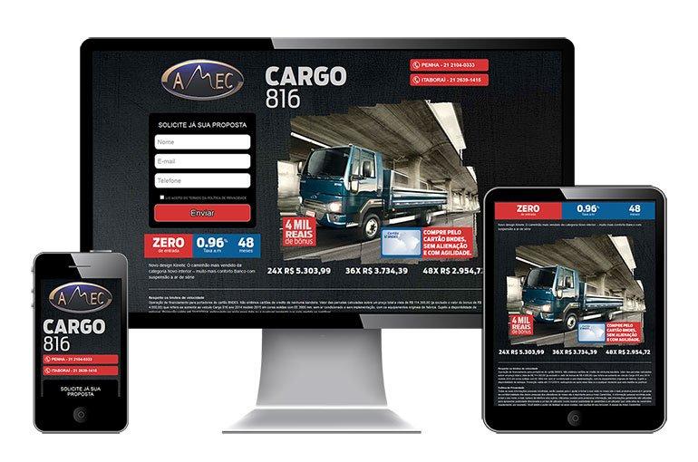 Imagem do site da AMEC visto em tablet, celular e desktop