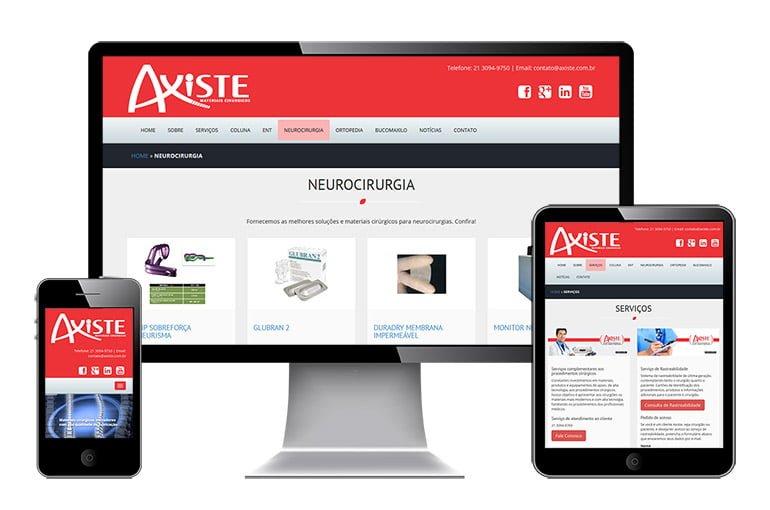 Imagem com site da Axiste visto em celular, tablet e desktop.
