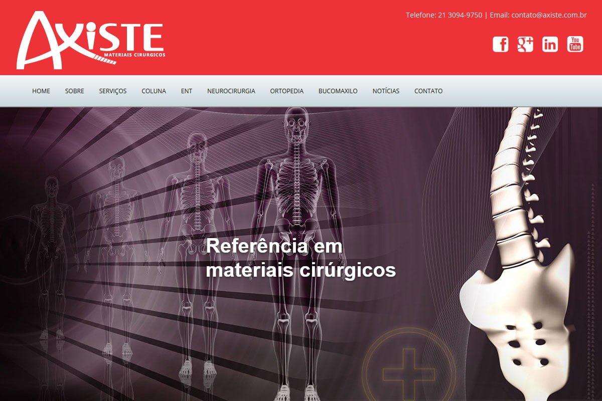 Captura de tela do site da Axiste Materiais Cirúrgicos