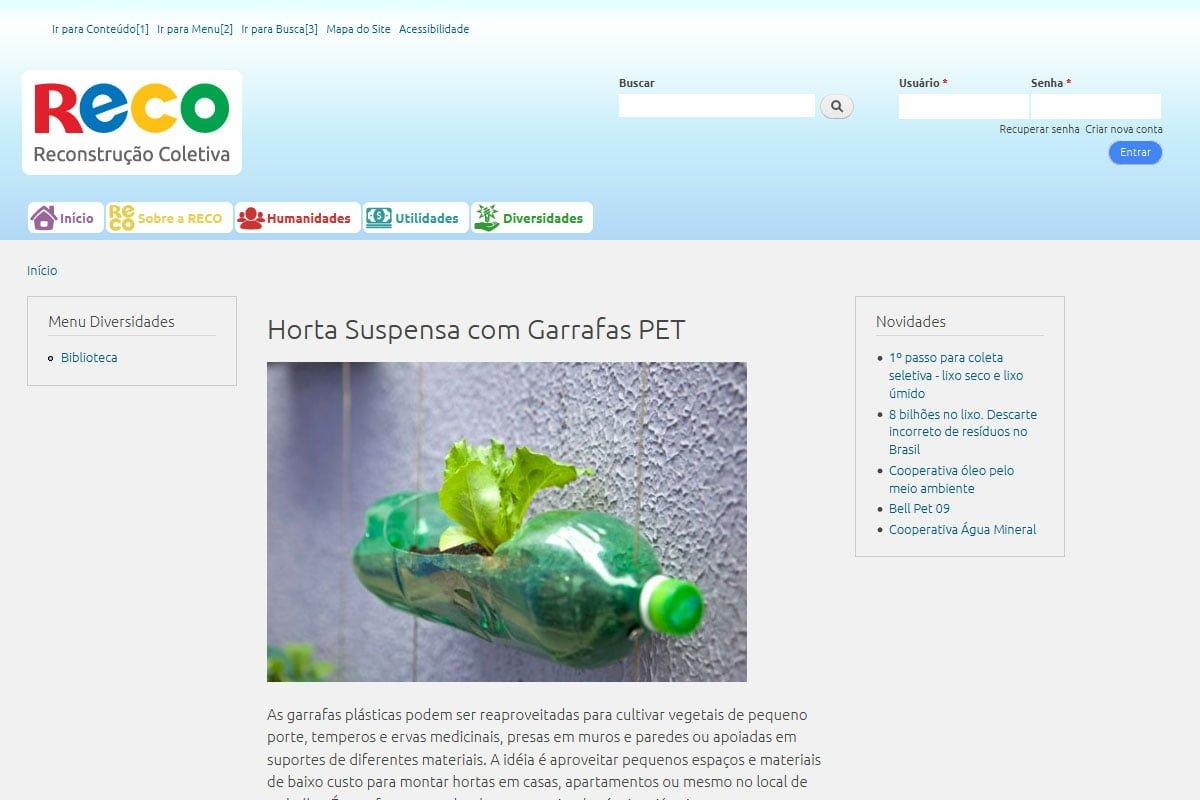 Captura de tela do site da Reconstrução Coletiva