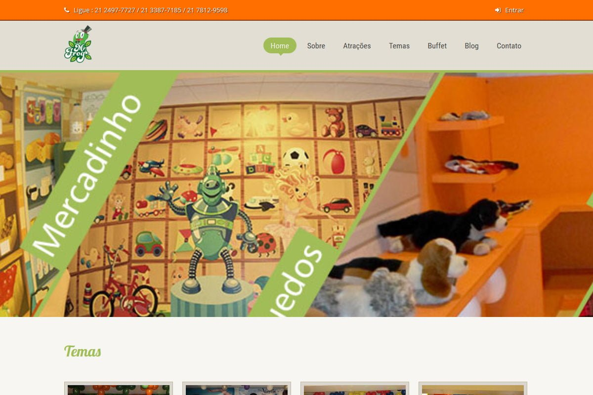Captura de tela do site da Mister Frog casa de festas