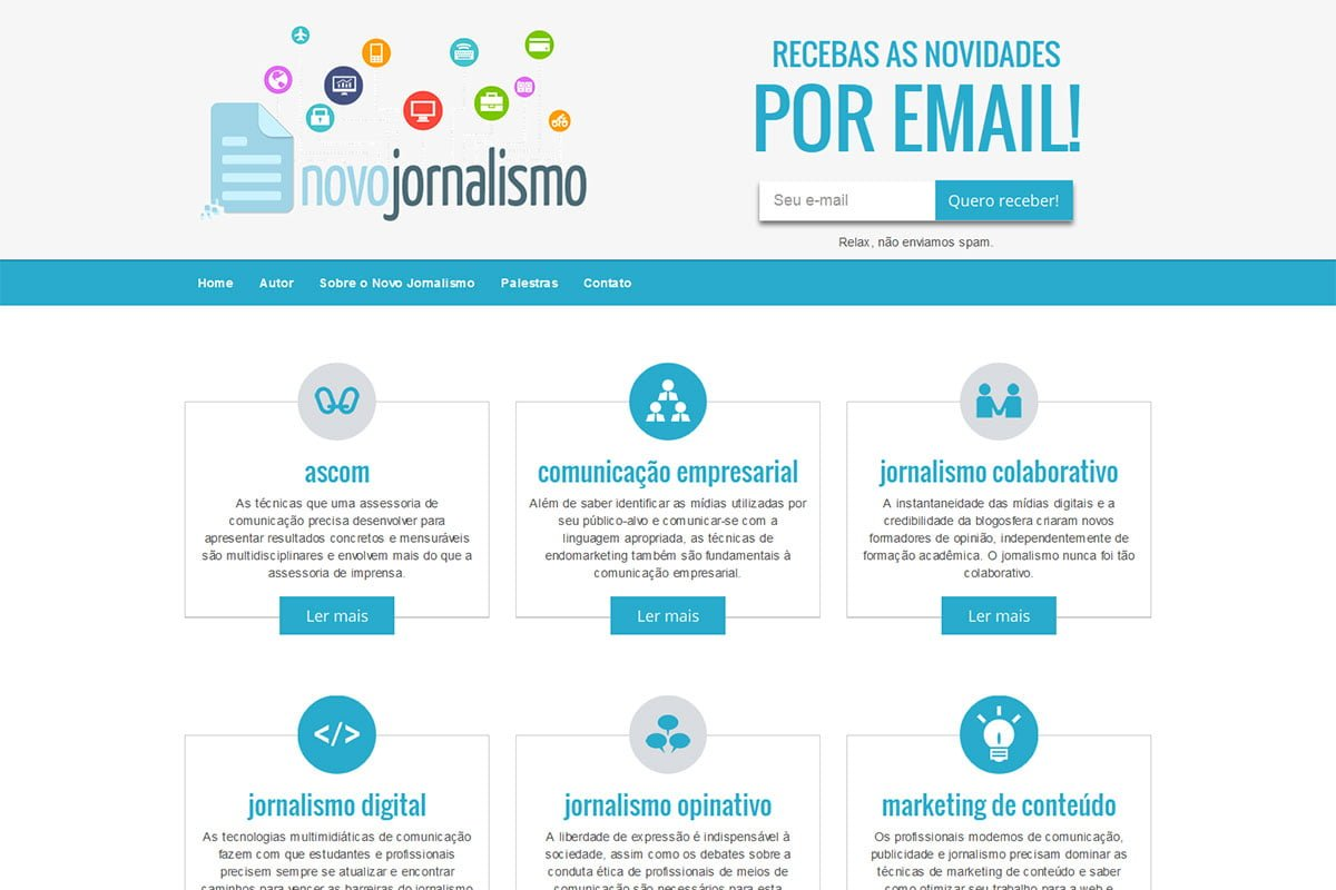 Captura de tela do site Novo Jornalismo