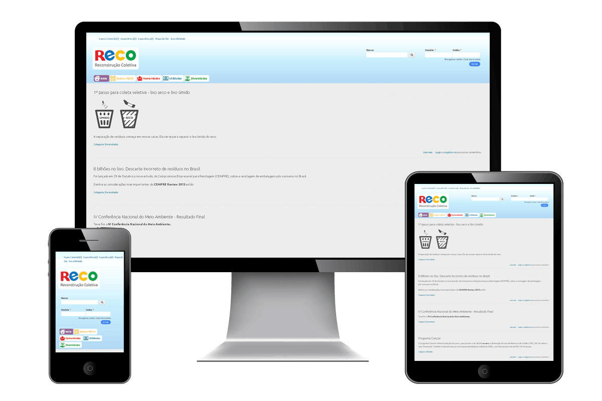 Imagem do site da RECO em celular, tablet e desktop