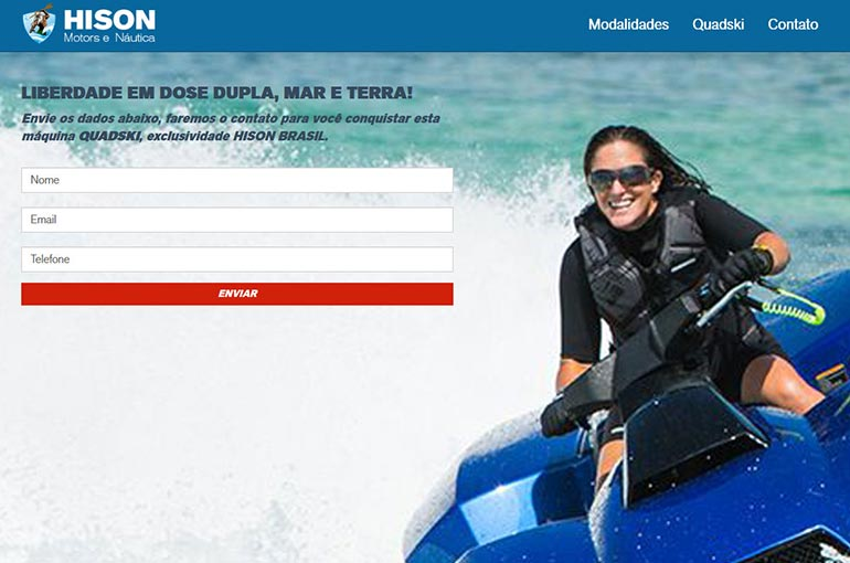 Captura de tela do Site da Hison Motors