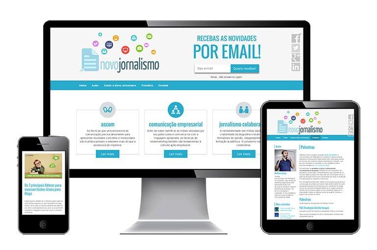 Imagem do comportamento responsivo do site Novo Jornalismo