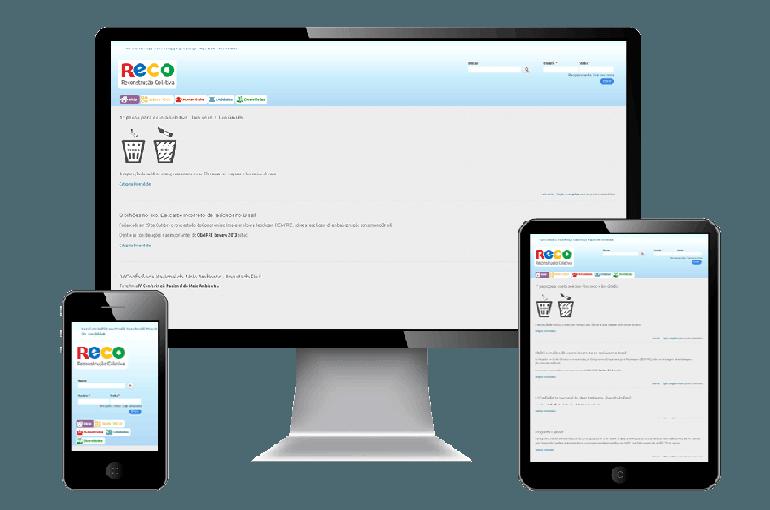 Foto com o site da RECO visto em celular, tablet e desktop