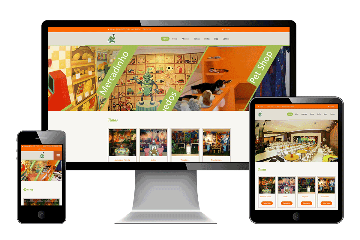 Layout responsivo do site da Mister Frog em tablet, celular e desktop