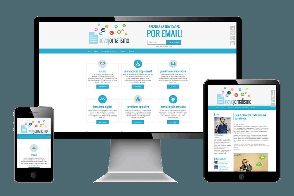 Imagem do Site Novo Jornalismo nos formatos celular, tablet e desktop