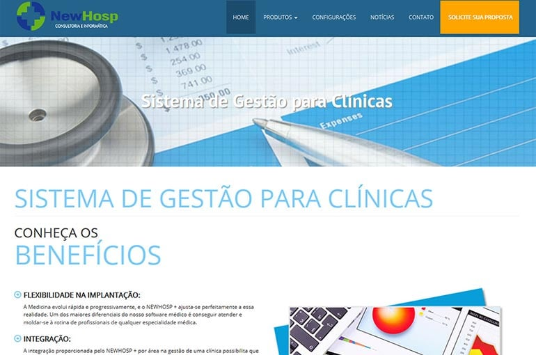 Captura de tela do site da Newhosp