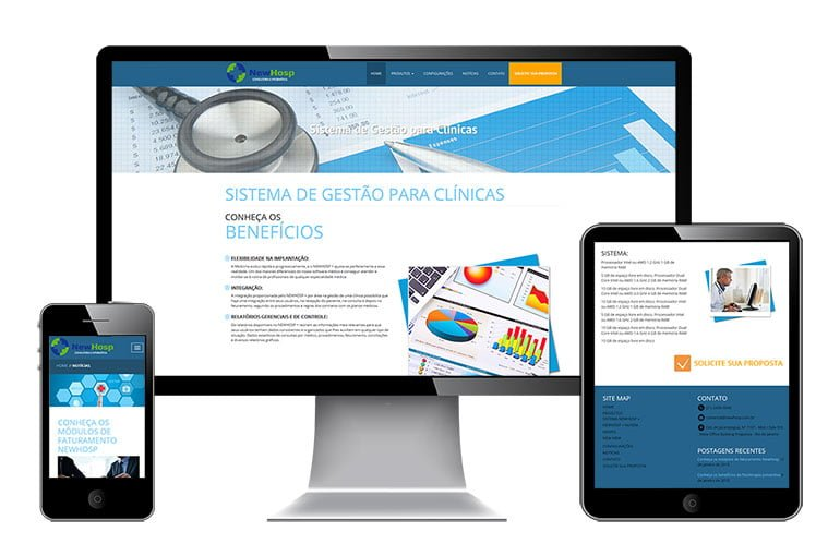 Comportamento responsivo do site da Newhosp