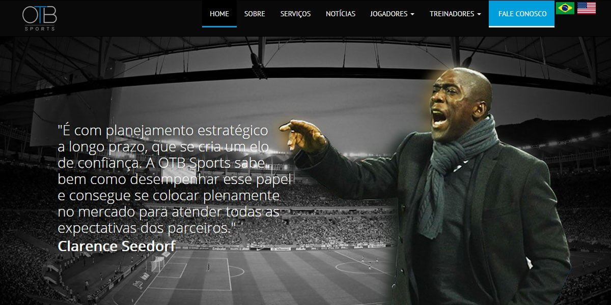 Captura de tela do site da OTB SPORTS