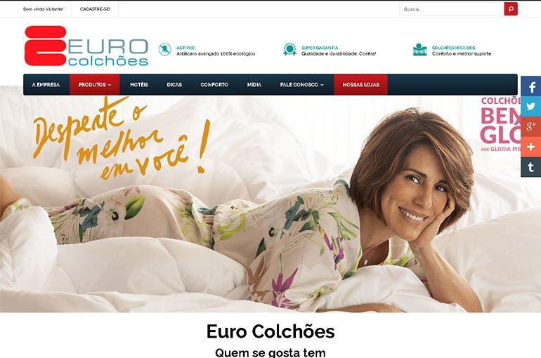 Euro Colchões: captura de tela da primeira página do site