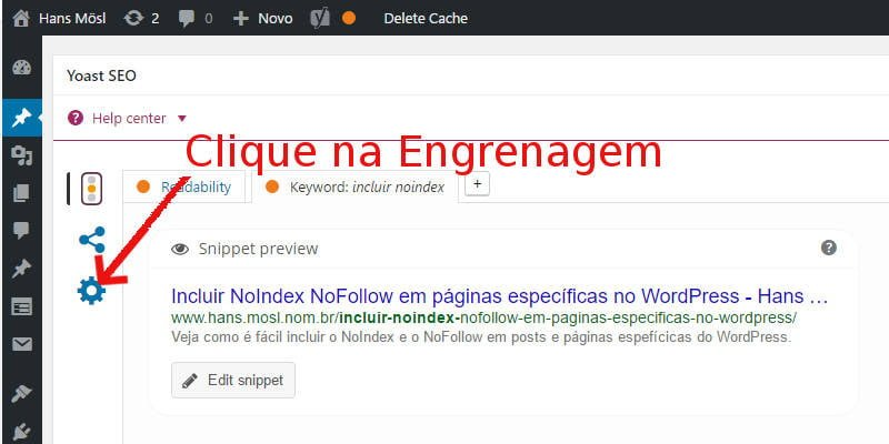 Captura e Tela: mostra como Colocar noindex e nofollow em post específico no WordPress