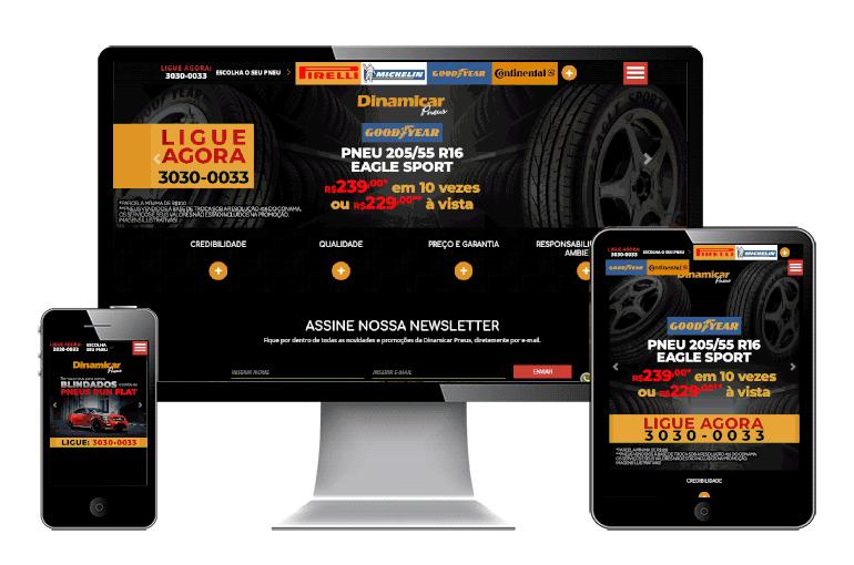 Design Responsivo do site da Dinamicar Pneus, versão 2017